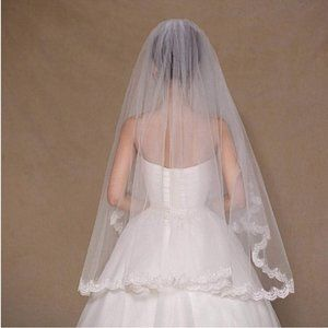 Two Layer Lace Bride Floral Wedding Veil IVORY